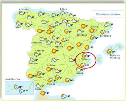 Spanienkarten:-  de.eltiempo.es (16.1.15)