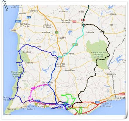 Unsere Touren an der Algarve 2016 - fast 1700 km.