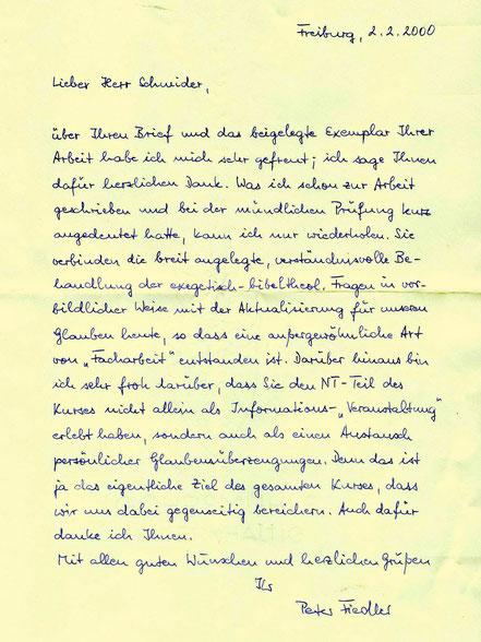 Antwortbrief des Fachdozenten Prof. Dr. P. Fiedler