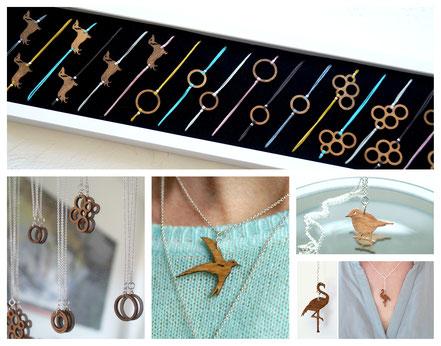 Holzschmuck | Auswahl Armbänder mit geometrischen Formen und Dackeln sowie 925er Silberketten mit Schwalben und Flamingos