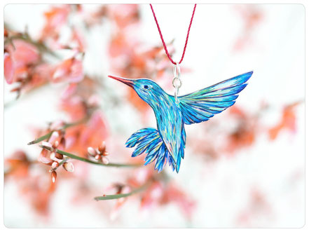 Zeichnung Kolibri - Kolibri - Hummingbird - blue hummingbird - drawing hummingbird