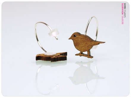 Drossel Ohrringe - Buchenholz - Holzschmuck - Drosselpaar - fraufischersSpielwiese - earhooks mockingbird - earrings with birds - thrush - bird earrings - lasercut - earhooks