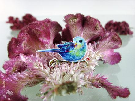 Brosche mit Sittich || broochpin with parakeet