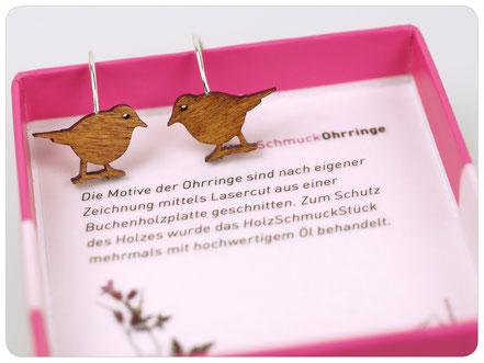 Vogel Ohrringe aus aus Holz - Drossel - Drosseln -  Vogelschmuck - fraufischers -bird earrings - wooden earrings - MOCKINGBIRD - mockingbird earrings - lasercut - earhooks
