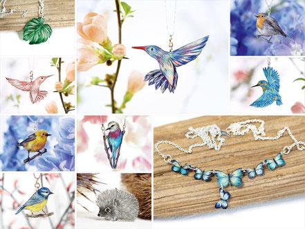 gezeichneter Schmuck | Unikate | Monstera, Kolibri, Schmetterlinge, Eisvögel, Rotkehlchen, Igel, Gabelracke, Blaumeise