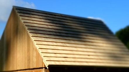 Holzschindeln und Eichenfachwerk