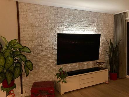 Steinwerke.ch moderne Wandverkleidung - Deko - Design - Wandpaneele, Modern - Elegant - Exklusiv - Wohnzimmer - Steinwandbeleuchtung - Kunststein - Ambiente - Freude