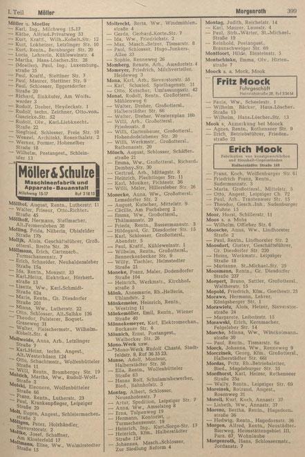 Adressbucheintrag der Möller und Schulze AG aus dem jahr 1950