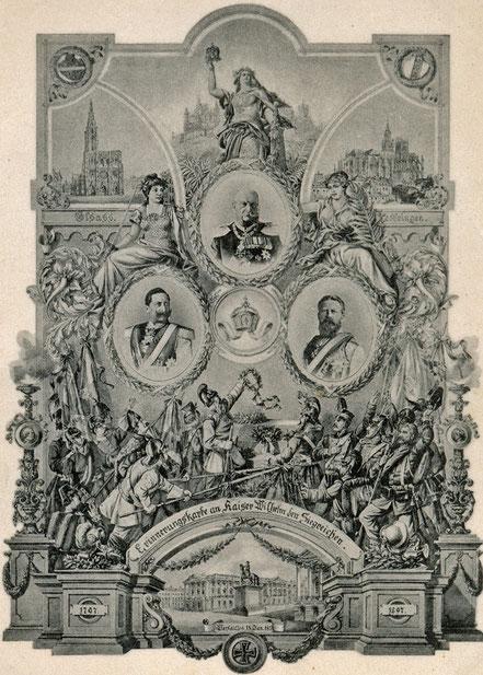 Zu Zeiten vo Kaiser Wilhelm II. herausgegebe Gedenk-Postkarte.