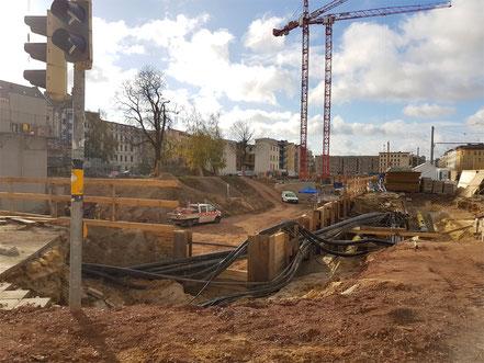 Die Baugrube am Magdeburger Dom.