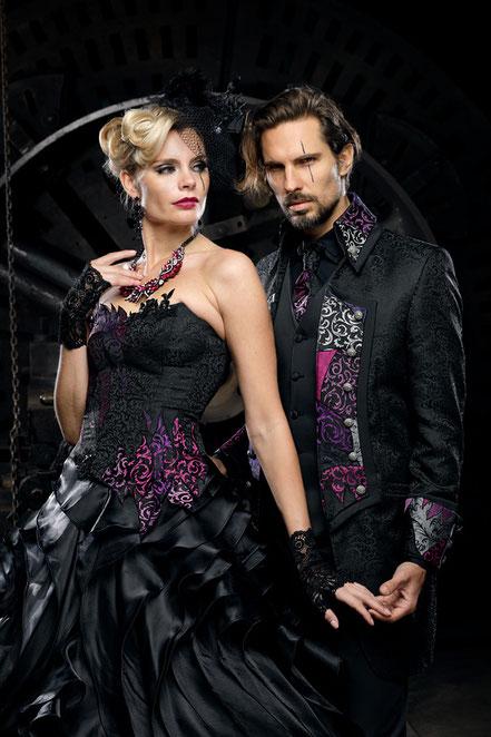 extravagante hochzeitskleider, ausgefallene brautmode, besondere brautkleider, schwarze brautkleider, schwarze brautmode, gothic brautkleid, steampunk brautkleid, coole brautmode, spezielle brautmode