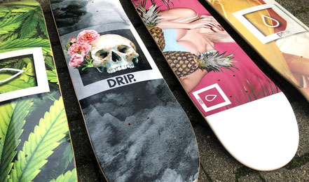 Drip Skateboards VMS Distribution - Winter/Spring 2020 Decks. Weed Paradise Deck, Rose Skull Deck, Pineapples Deck, Suck It Deck. 7Ply Canadian Maple Skateboard Decks with Griptape & Stickers
