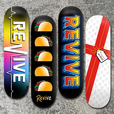 Revive Skateboards Winter 2020 Team Decks - VMS Distribution Europe. Gradient Lifeline, Gold Tacos, Old School, A Gift For You Deck jetzt erhältlich im VMS Distribution Online-Shop!