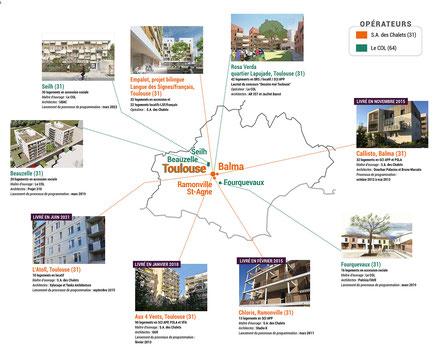 Carte des projets d'habitat participatif autour de Toulouse accompagnés par Faire Ville - accession de logement, appartement