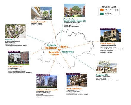 Carte des projets d'habitat participatif autour de Toulouse accompagnés par Faire-Ville - accession de logement, appartement