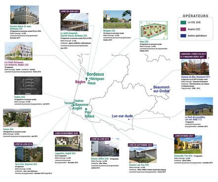 Carte des projets d'habitat participatif hors Toulouse, accompagnés par Faire-Ville
