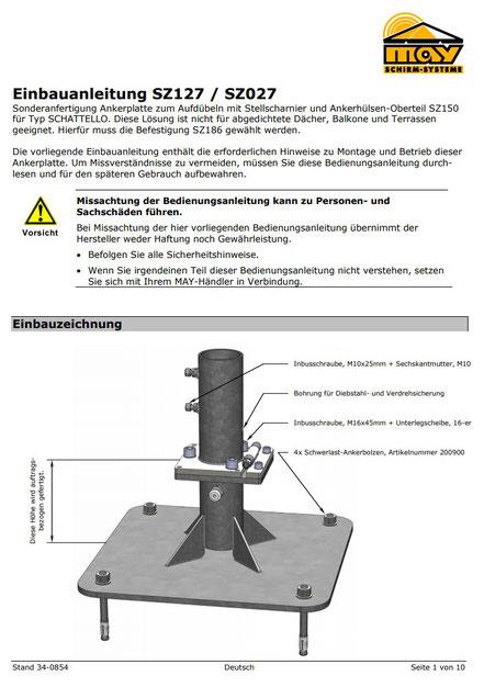 Einbauanleitung für Ankerplatte SZ127 für may Sonnenschirm SCHATTELLO ✅ Ansprechpartner: FINK Sonnenschirme