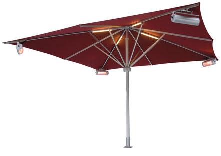 may Sonnenschirm Schattello mit Heizung und Beleuchtung mit Lautsprecher, sonnenschirm 5x5m rot