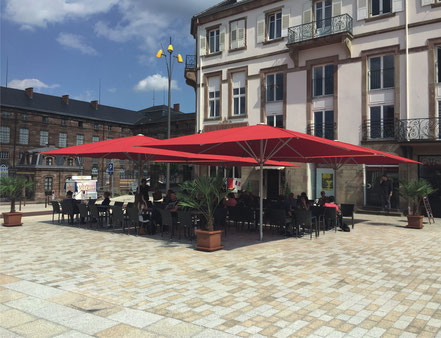 may Sonnenschirm schattello rot 5x5m Gastronomie Hotel Bäckerei
