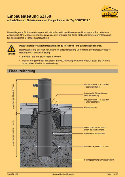 Installationsanleitung für may Ankerhülse SZ 150