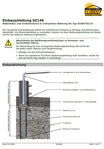 Anleitung zur Ankerhülse für may SCHATTELLO SZ146