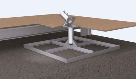 standrahmen may sz 210 für schattello als zubehör für einen großen sonnenschirm mit klappscharnier für elektrozuleitung