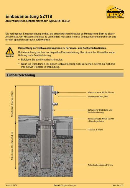 Ankerhülse SZ 118 Installationsanleitung FINK Sonnenschirme