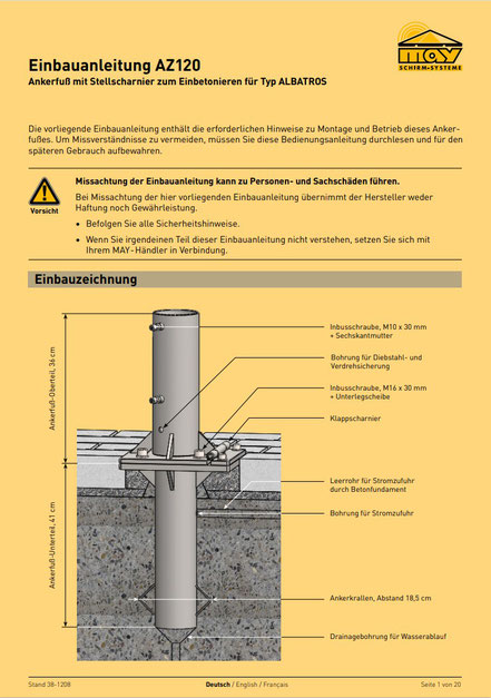 Installationsanleitung Deutsch zu may Ankerhülse ALBATROS AZ 120 Ankerfuß zweiteilig zu Großschirm