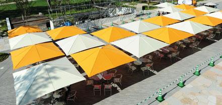 may Sonnenschirme kaufen ✅ Gastroschirme, Kindergartenschirme, große Sonnenschirme ✅ Rechteckige Schirme - Großschirme von MAY kaufen bei FINK Sonnenschirme Großostheim