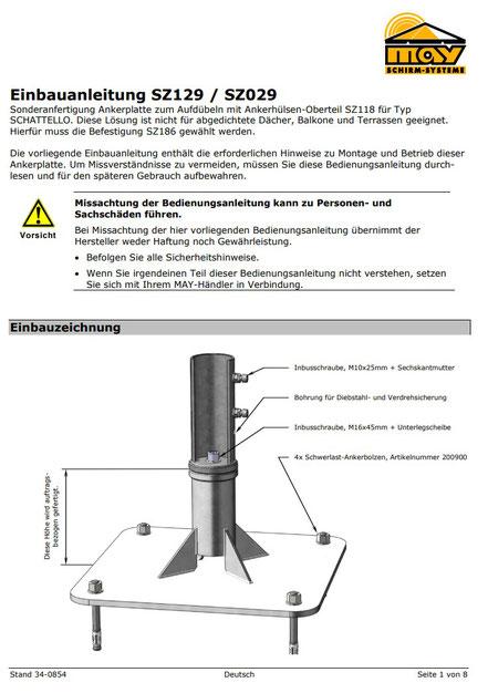 Einbauanleitung zur Ankerplatte SZ129 MAY Sonnenschirme als pdf