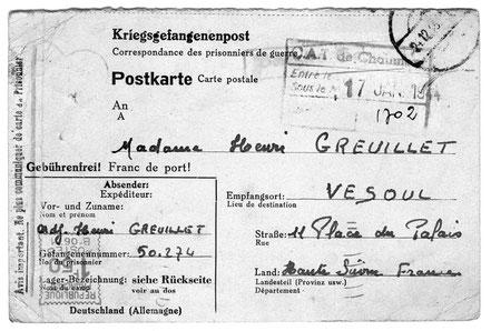 Carte postale destinée aux correspondances des prisonniers de guerre.(Recto) Rédigée le 12 décembre 1943 et enregistrée en France avant distribution le 17 janvier 1944