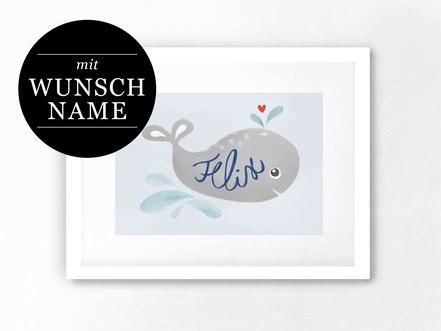 Kunstdruck / Babybild mit Wunschname von studio vanhart – www.studiovanhart.de
