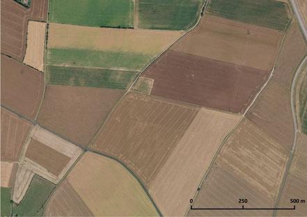 Vue aérienne de la plaine près de Sarceaux