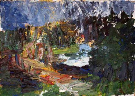 FRANZ GRABMAYR, Waldviertler Teichlandschaft, Öl/Leinwand, 1980, 200x300cm