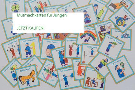 39 unterschiedliche Mutmach-Karten für Jungen