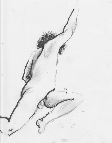 O. Titel, DIN A5, 2013, Bleistift, Kreide, Marker.