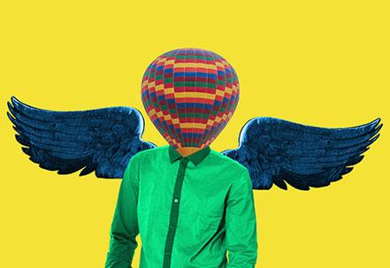 Künstlerisches Bild. Person mit Flügeln. Coaching verleiht Flügel.