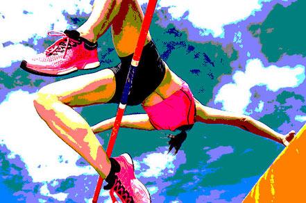 Stabhochspringerin fliegt gerade über die Sprunglatte. Mentale Stärke durch Coaching.