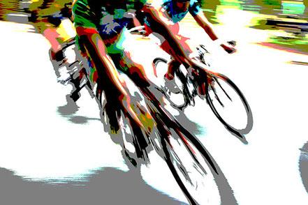 Tempo. Profiradfahrer in langer Kurve. Langlebiger Erfolg im Radsport durch Persönlichkeitscoaching.