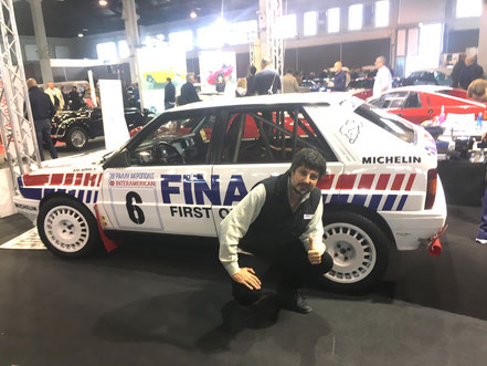 Lancia delta fina to55236r verniciata da pubblimais a torino e guidata da auriol al rally acropoli 1991, presso stand fiera di padova 2019