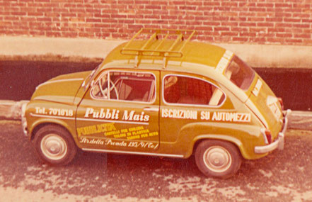 The old advertising Fiat 600 of the company.