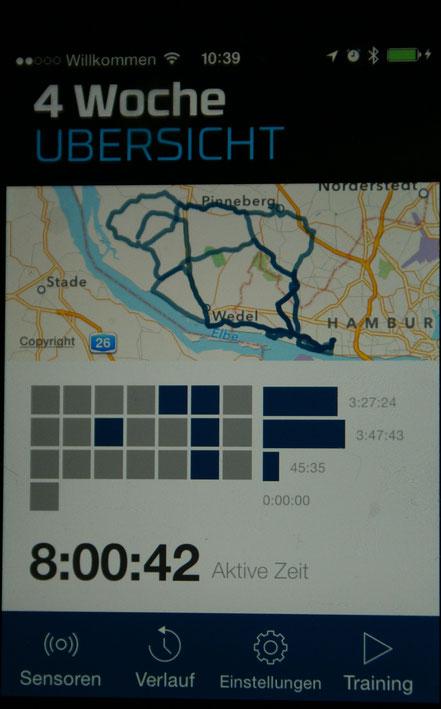 Der Startbildschirm der Wahoo Firness-App dient dem Tracking von verschiedenen Sportarten. Von hier aus konfigurierst Du auch den RFLKT.