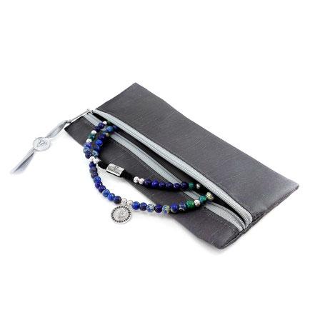 Lange Halskette mit Anhänger (60cm) aus blauem Jaspis, grünem Chrysokoll, Lapislazuli, Sodalith und 925er Silber