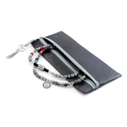 Lange Halskette mit Anhänger (60cm) aus grauem Jaspis, rotem Jaspis, Labradorit und 925er Silber