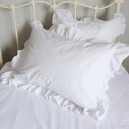 枕カバー 白 フリル ピローケース