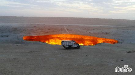 Langzeitreise, The Michaels, Turkmenistan, door to hell, Derweze, Gaskrater