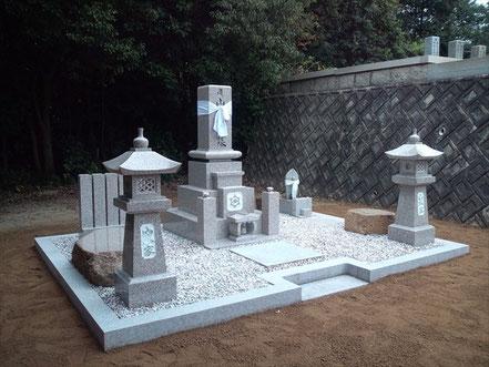 先祖墓9寸+墓前灯篭:倉敷