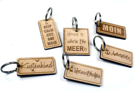 Holz Schlüsselanhänger Küstenking, Heimathafen, Moin, Ankerplatz, Keep calm