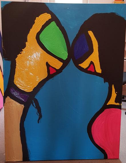 """Die Miguren - """"Liebe II"""" 1,60 m x 1,20 m Acryl auf Leinwand Frau Nancy 2019"""