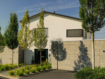 Eingangsbereich und Einfahrt eines Wohnhauses